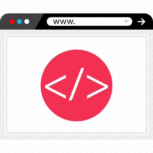 browser, code, internet, web icon