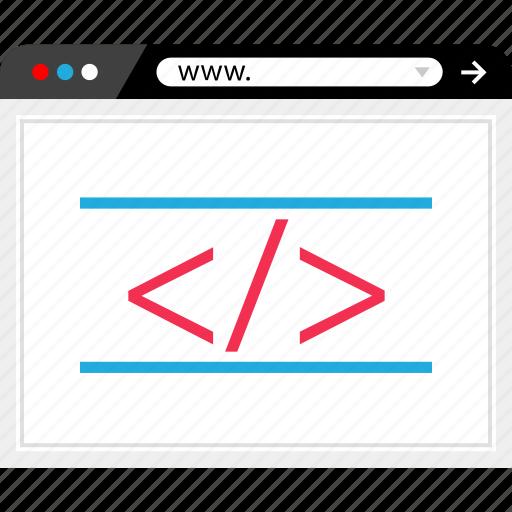 browser, code, development, internet, mockup, online, web icon
