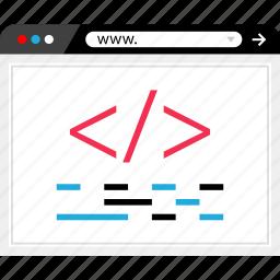 browser, code, internet, line, online, script, web icon