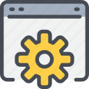 browser, code, coding, develop, development, gear, process icon