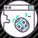 bug, code, coding, development, error, programming, warning icon