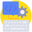 coding, deelop, keyboard, process, programming icon
