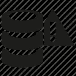 database, error, server, warning icon
