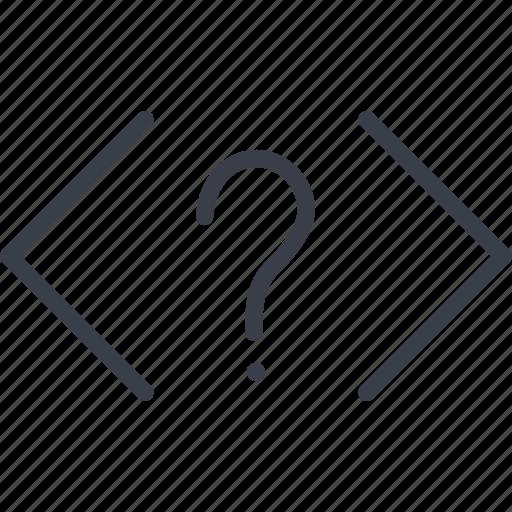 brackets, code, coding, development, programming, question, web icon
