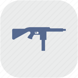 app, automatic, gray, gun, mashine, weapon icon