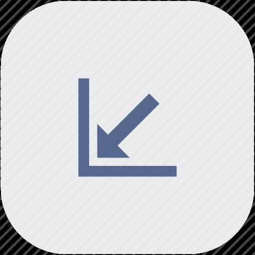 app, arrow, bottom, corner, gray, left icon