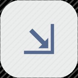 app, arrow, bottom, corner, gray, right icon