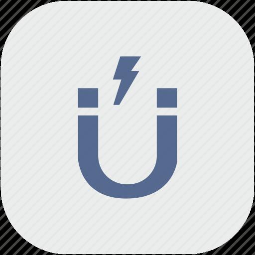 app, electric, gravity, gray, magnet, shock icon