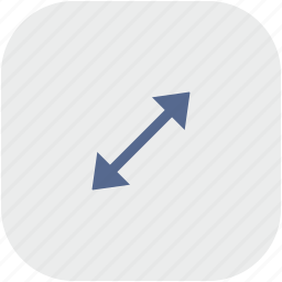 app, arrow, diagonal, gray, measure, size icon