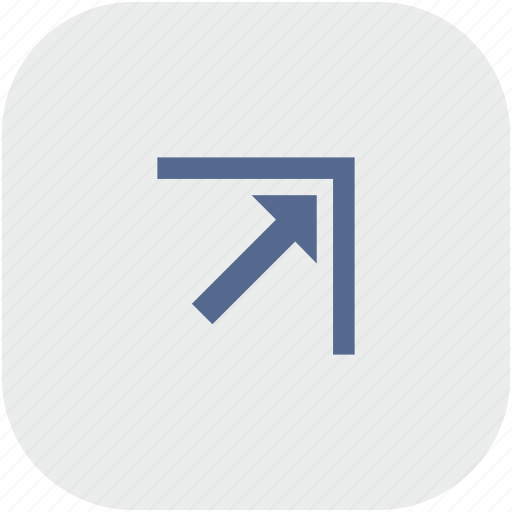 app, arrow, corner, gray, right, top icon