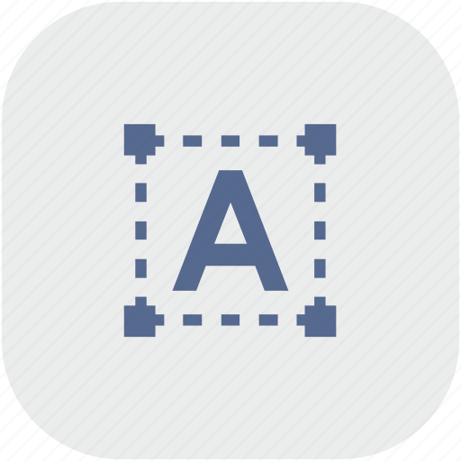 figure, grid, letter, rounded, square, text, transform icon