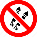 firecrackers, fireworks, petard, prohibited, prohibition, salute, sign
