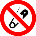 metal, needle, pin, prohibited, prohibition, safety pin, sign