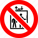 fire, emergency, lift, elevator, no use, sign, prohibition icon