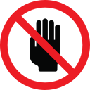 forbidden, warning, prohibition, hand icon