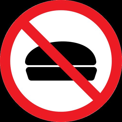 cake, forbidden, hamburger, prohibition icon