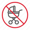 baby, ban, carriage, forbidden, no, prohibition, stop icon