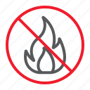 ban, fire, flame, forbidden, no, prohibition, stop icon