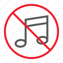 ban, forbidden, melody, music, no, prohibition, stop icon