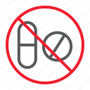 ban, drug, forbidden, no, pill, prohibition, stop icon