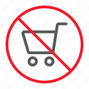 ban, cart, forbidden, no, prohibition, shopping icon