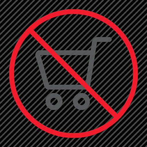 ban, cart, forbidden, no, prohibition, shopping icon