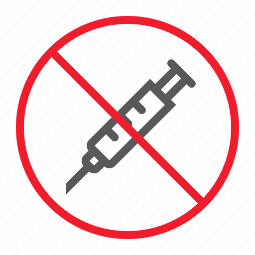ban, forbidden, injection, no, prohibition, stop, syringe icon