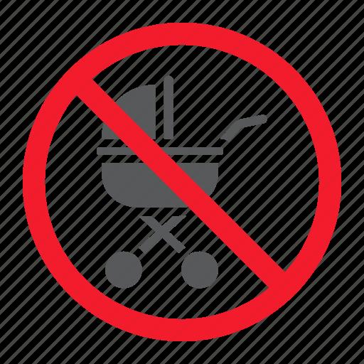 baby, ban, carriage, forbidden, no, prohibition, stop icon