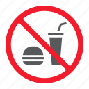 ban, drink, food, forbidden, no, prohibition, stop icon