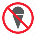 ban, cream, forbidden, ice, no, prohibition, stop icon