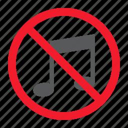 ban, forbidden, melody, music, no, prohibition, stop icon