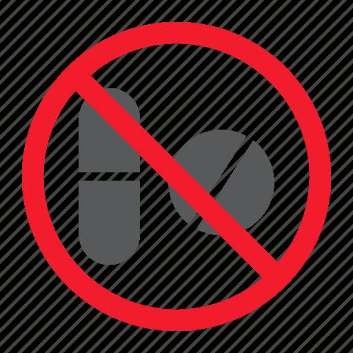 ban, drug, forbidden, no, pill, prohibition, stop icon