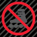 ban, forbidden, no, prohibition, roller, skates, stop
