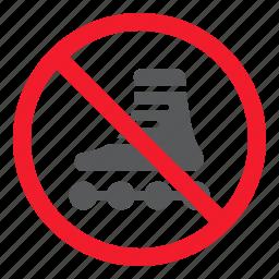 ban, forbidden, no, prohibition, roller, skates, stop icon