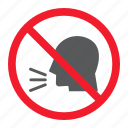 ban, forbidden, keep, no, prohibition, silence, sound icon