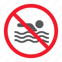 ban, forbidden, no, prohibition, stop, swim, swimming icon