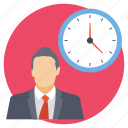 business time, businessman with clock, busy career, professional punctuality, project deadline icon