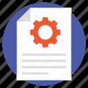 content maintenance, content production, data management, document development, document with gear icon