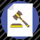 auction paper, bidding document, justice symbol, legal document, sale paper icon