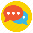 chat bubbles, conversation, live chat, speech bubble, typing communication icon