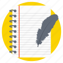 diary and pen, notepad, paper work, pencil with paper, writing concept icon