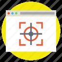 monitoring, target plan, vision, web analysis, website with focus icon