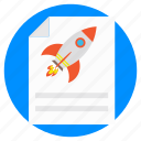 business launch, document with rocket, excellent plan, mission startup, schedule startup icon