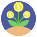 business profit, dollar plant, financial growth, money growth, money plant icon