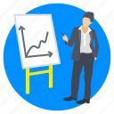 analytics, business analysis, growth analysis, project presentation, statistic concept icon