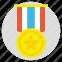 achievement, best performance, first rank, star medal, winner icon