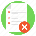 rejected document, cancelled products, data denial, document and cross, wrong list icon
