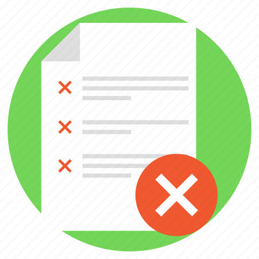 cancelled products, data denial, document and cross, rejected document, wrong list icon