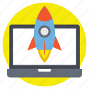 business startup, new project, project innovation, rocket launch, website launch icon