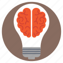 brain inside bulb, bright idea, creativity, innovation, smart solution icon